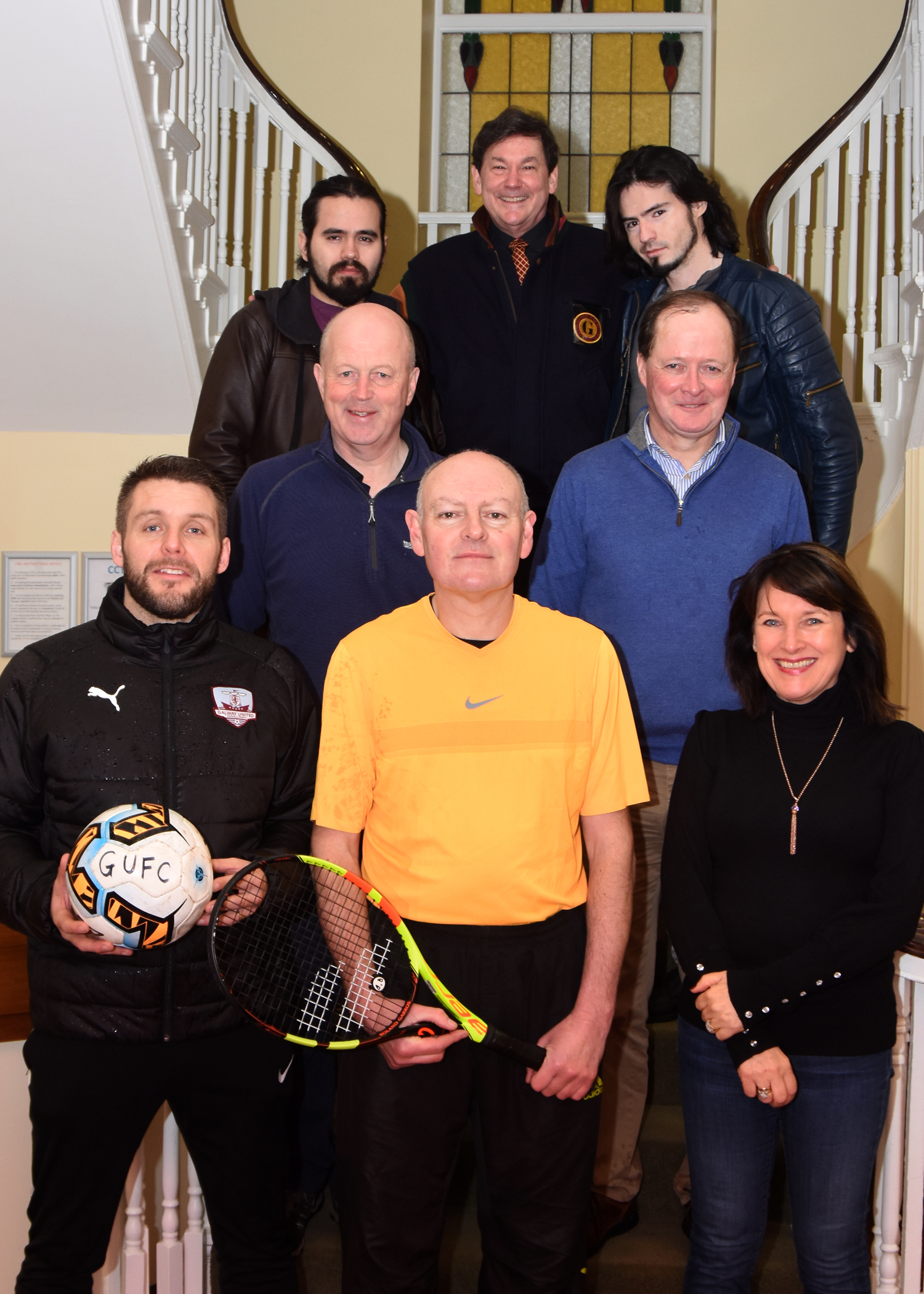 Front l-r: Alan Murphy, Galway United, Mike Geraghty, Tennis Coach, Breda Crehan-Roche, CEO, Ability West  Middle l-r: Ray Kelly, Chairman, Ability West, Richard Hughes, Hughes Opticians  Back l-r: Guillermo Lara Franco, BARDON, Michael Duke, Community Development Officer, Ability West, Cesar Lara, BARDON