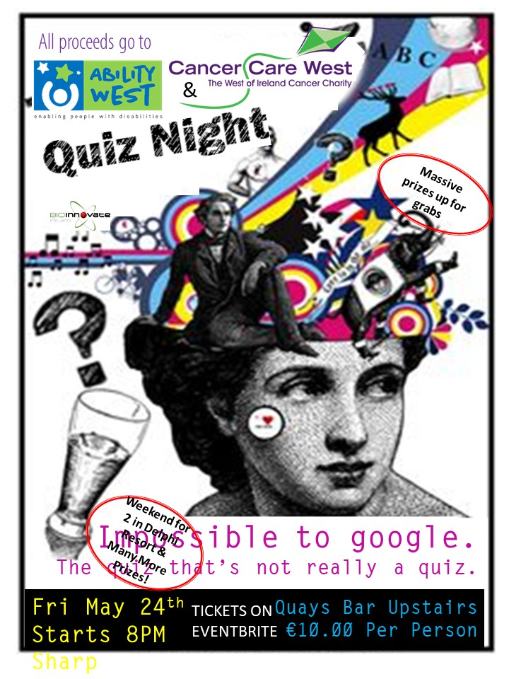 Join Medtronic in the Quays Bar on Friday, 24th May for an 'ungoogeable' quiz, should be good craic!