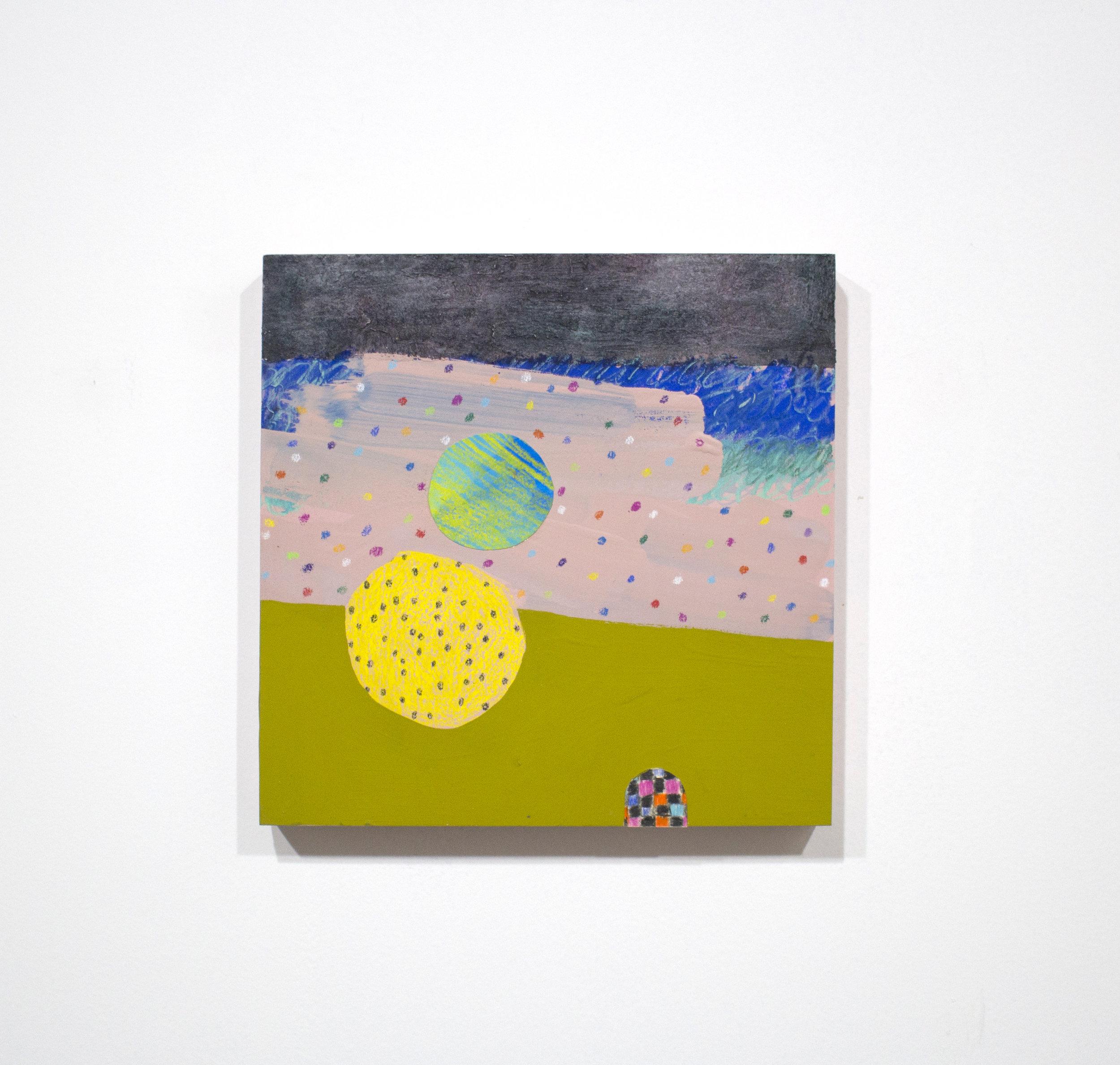cookie tumble , 2016, tecnica mista su tavola, 25 x 25 cm