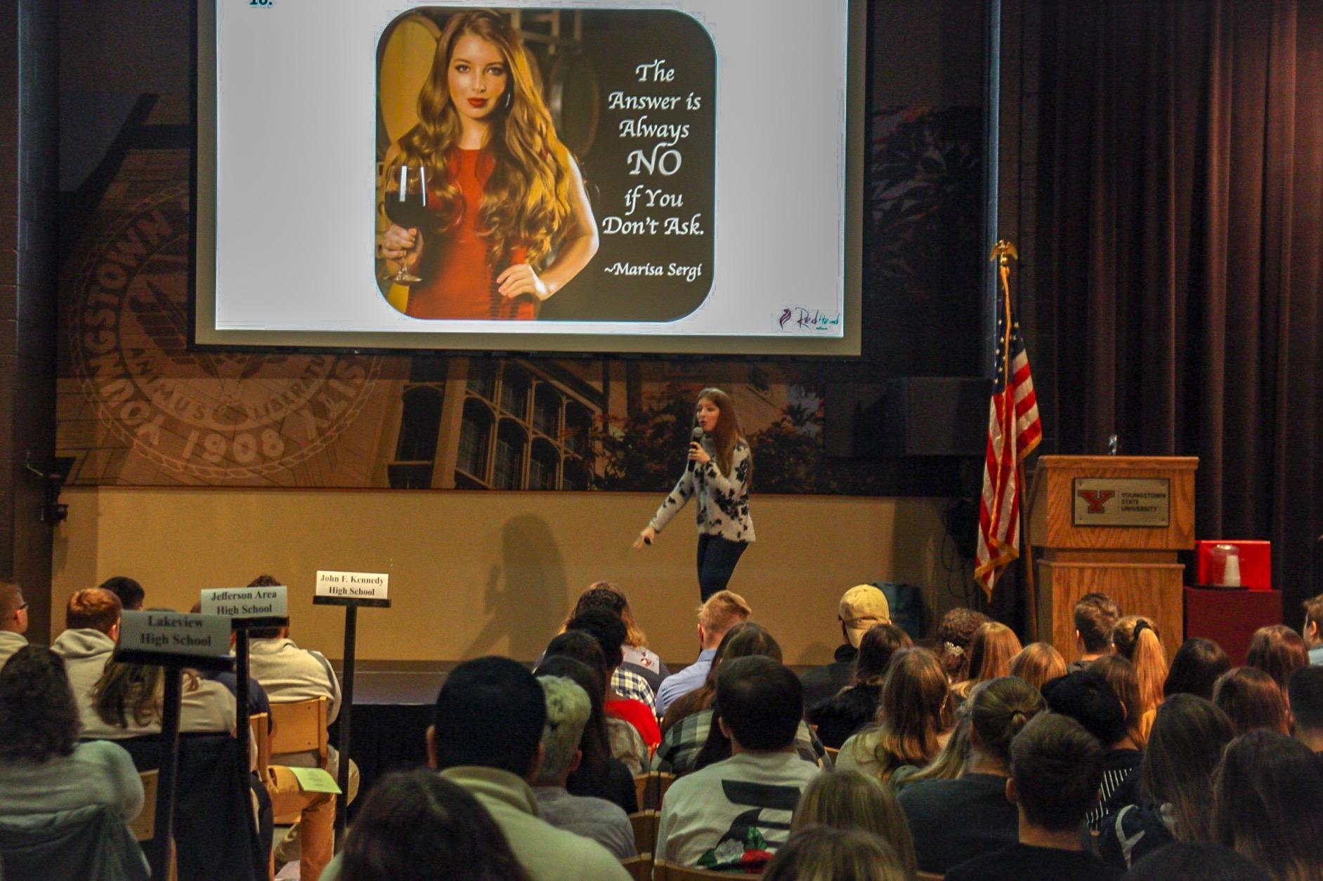 Marisa Sergi, RedHead Winemaker, addresses 400 high school students