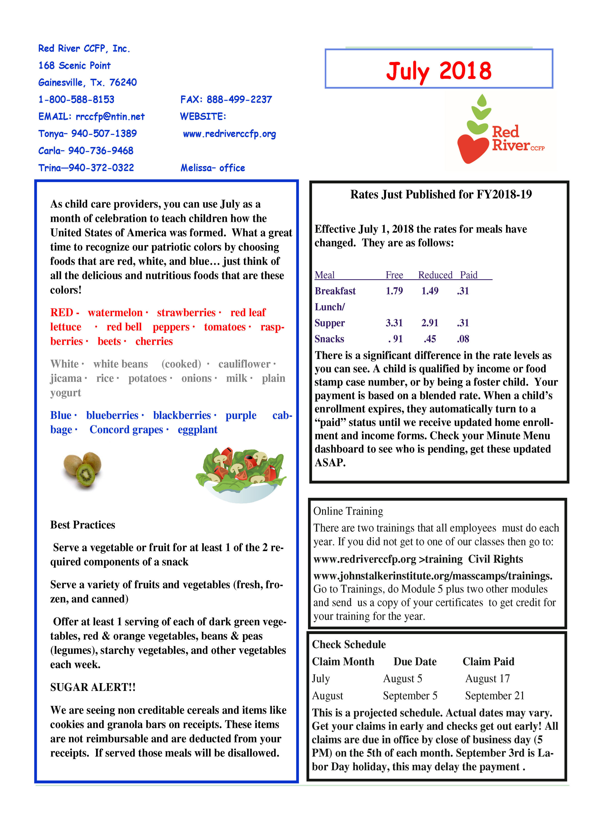 Newsletters — Red River Child Care Food Program