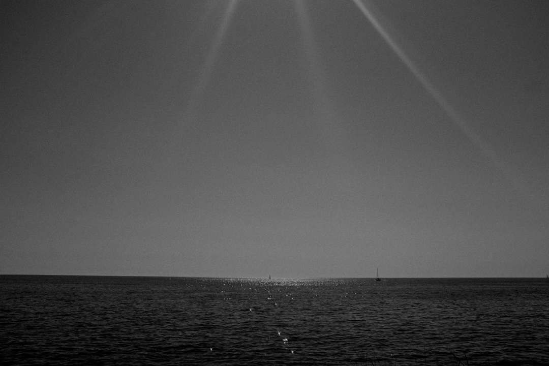 black and white sea