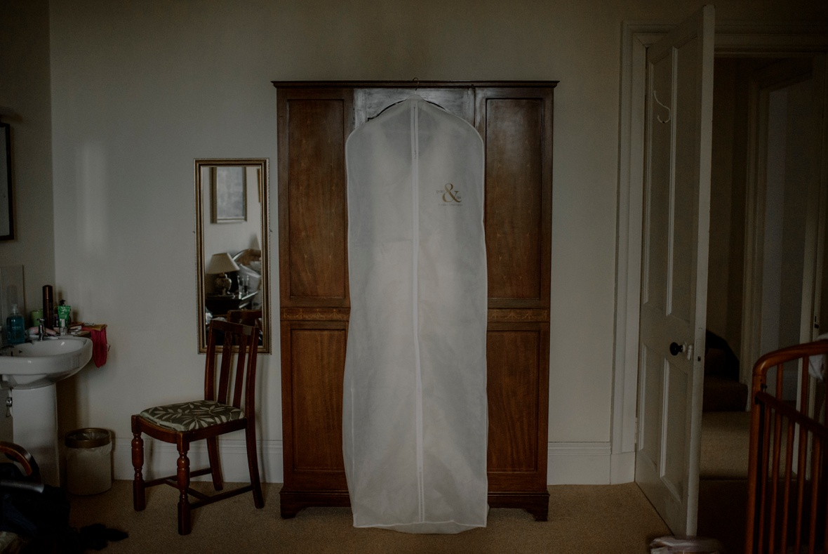 wedding dress in bag