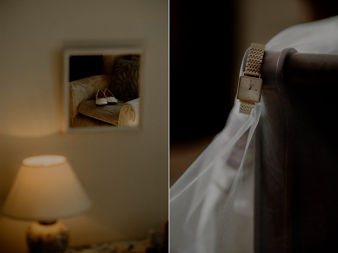 bride shoes and watch