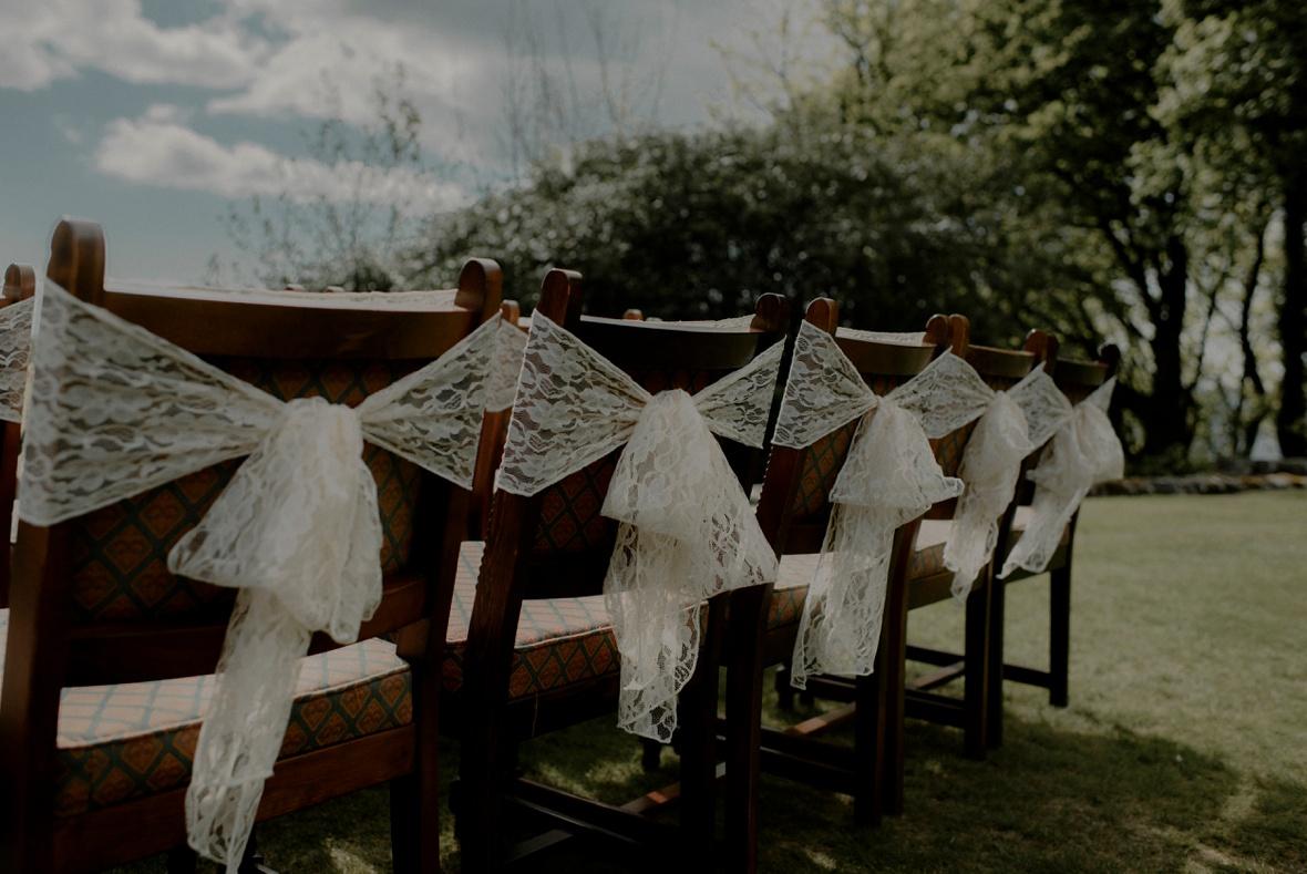 row of seats at wedding
