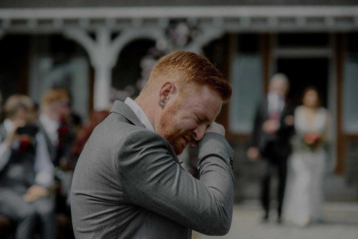 crying groom