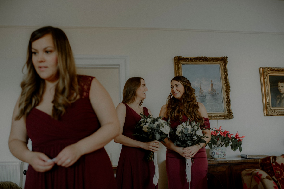 bridesmaids are lining up