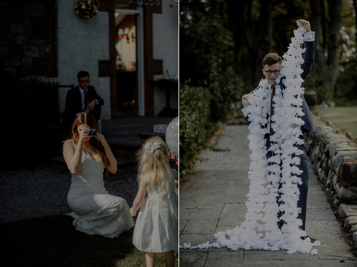 bride is taking picture of a little girl