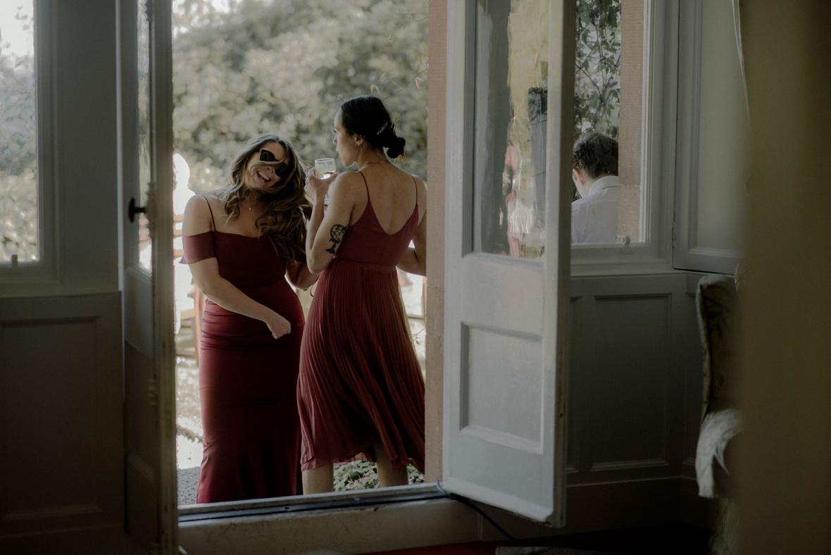 bridesmaids are dancing