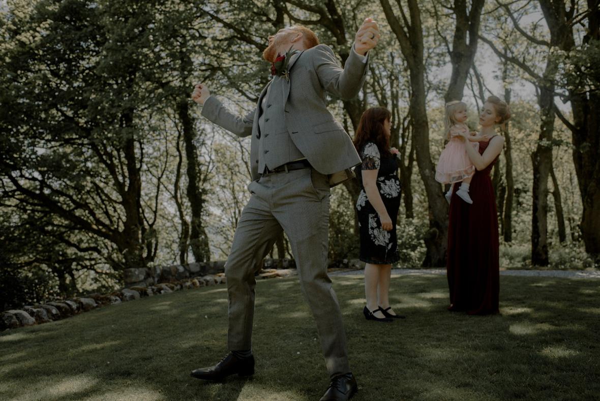 groom's happy dance