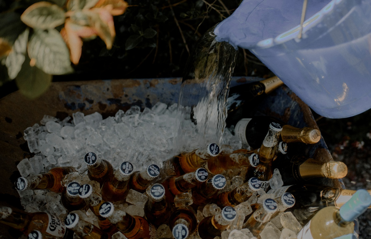 corona beer is chilling in ice