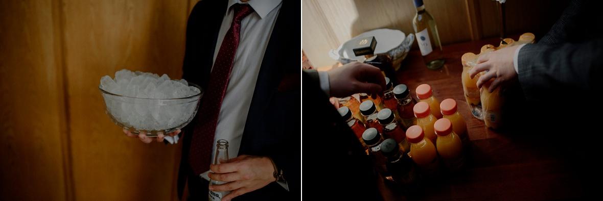 bottles of juice and bucket of ice