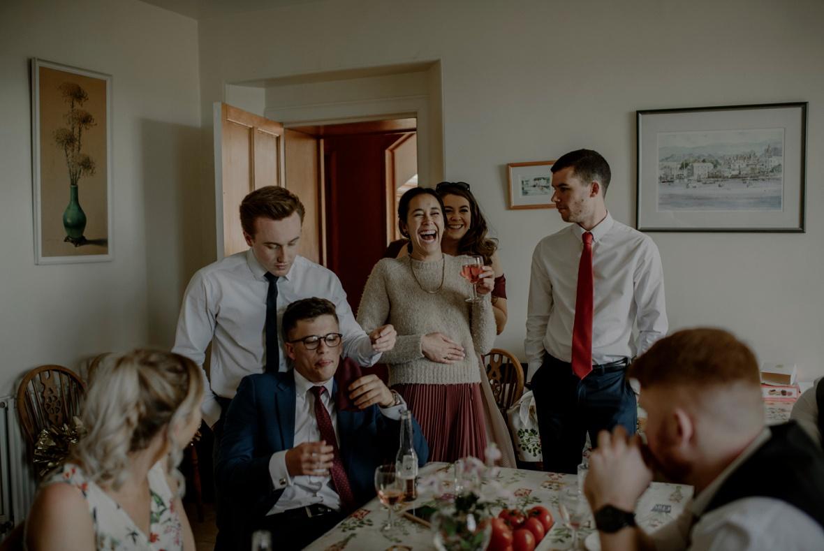 wedding party in kitchen
