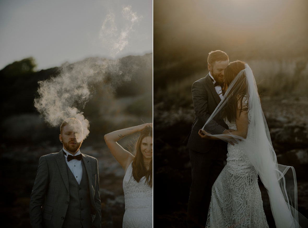 groom is letting smoke out