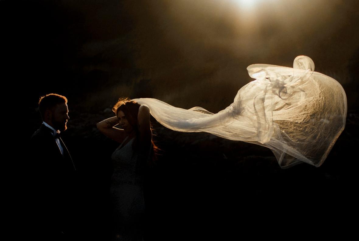 veil is floating in air