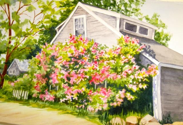 "Artwork featured is Susan's watercolor titled ""Rose Cottage"""