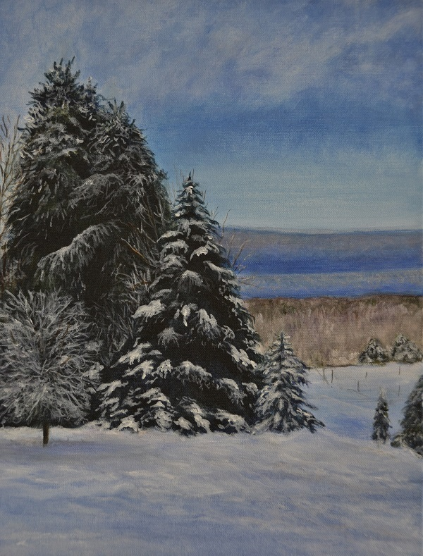 "Jane Copp''s oil painting ""Winter Mirage"""