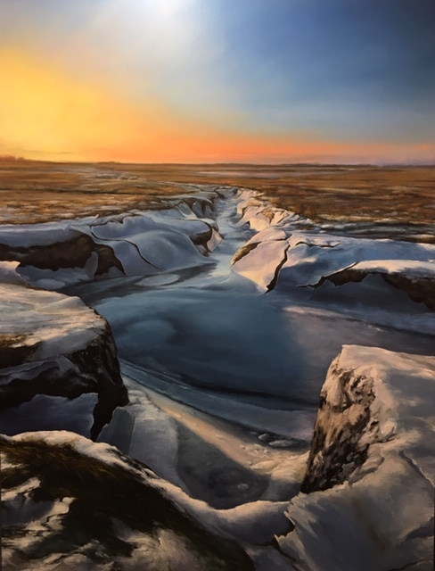 Ethan Lima's Ice Sheets in Marsh Channels, Oil.jpeg