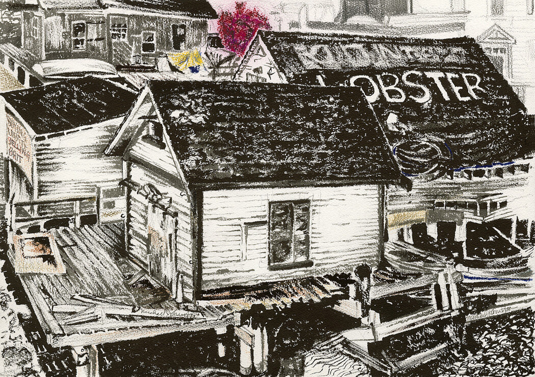 Buy Lobster Sell Bait, Portsmouth, drawing by Michael Johnston