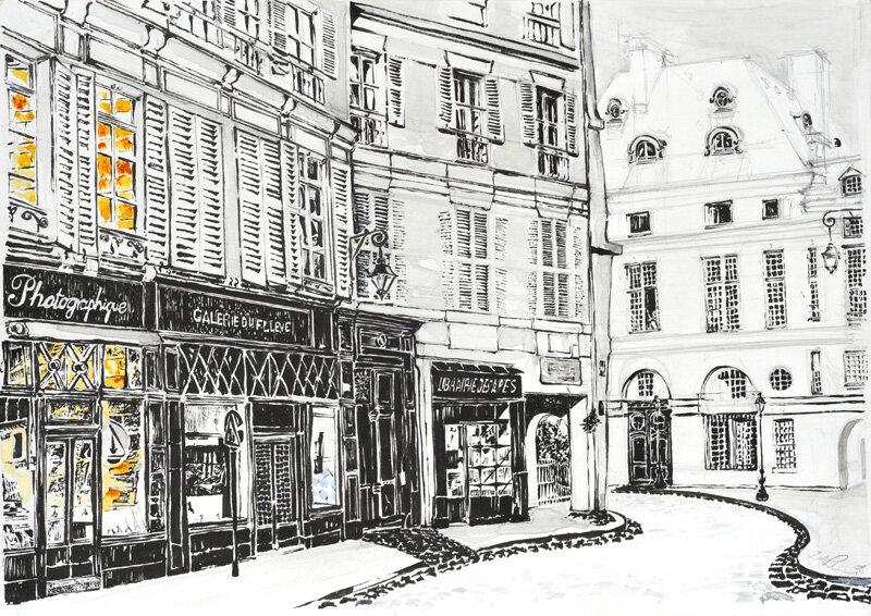 Rue de Seine, Paris,, drawing by Michael Johnston