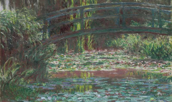 A painting titled The Bridge Over the Waterlily Pond by Claude Monet. Credit:  AAP/National Gallery of Victoria