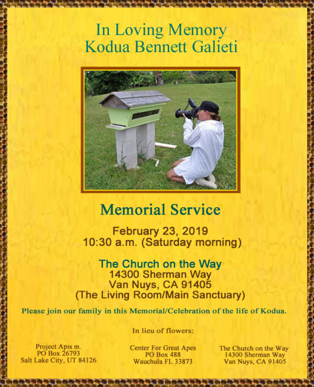 Kodua Bennett Galieti Memorial Service (Printable)    tribute and telling the bees - about kodua galieti
