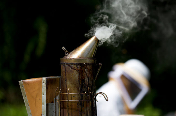 Beekeepers use this device, called a smoker, to calm honeybees.  Olivia Falcigno/NPR