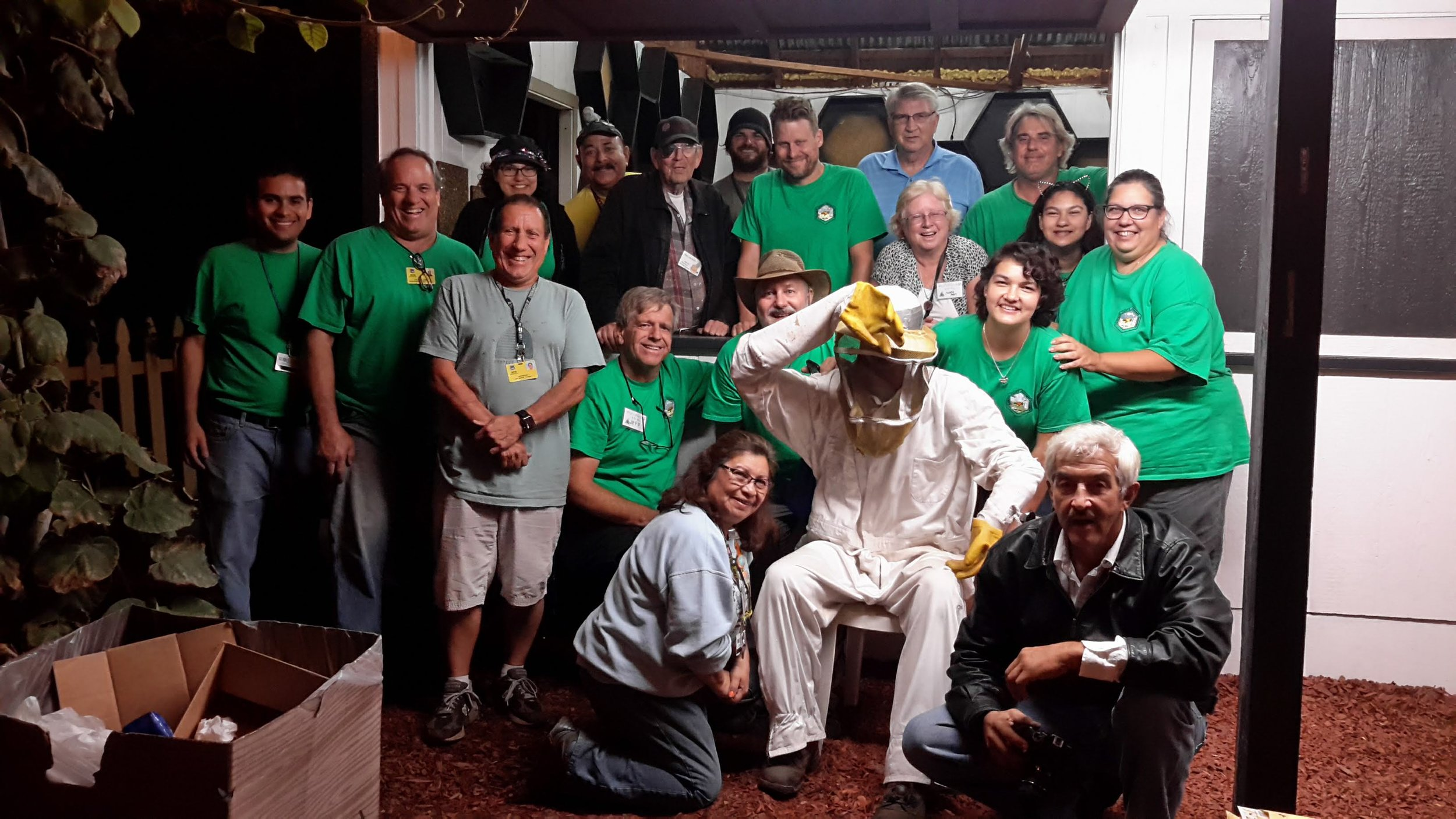 just some of the many volunteers from the los angeles county beekeepers association and the beekeepers association of southern california! thank you all for your many hours helping the honey bees!