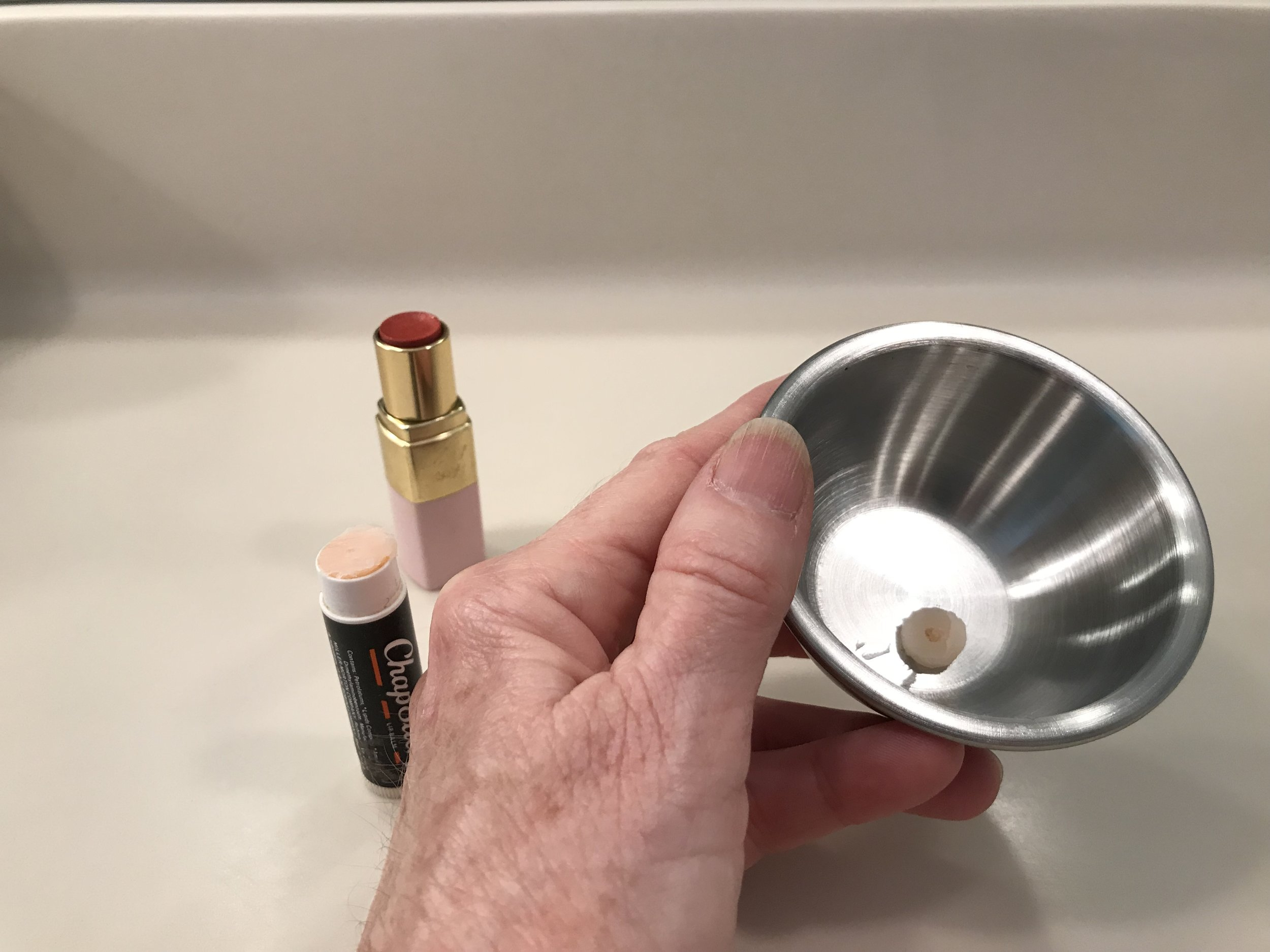 1. Place lip balm in a small bowl.