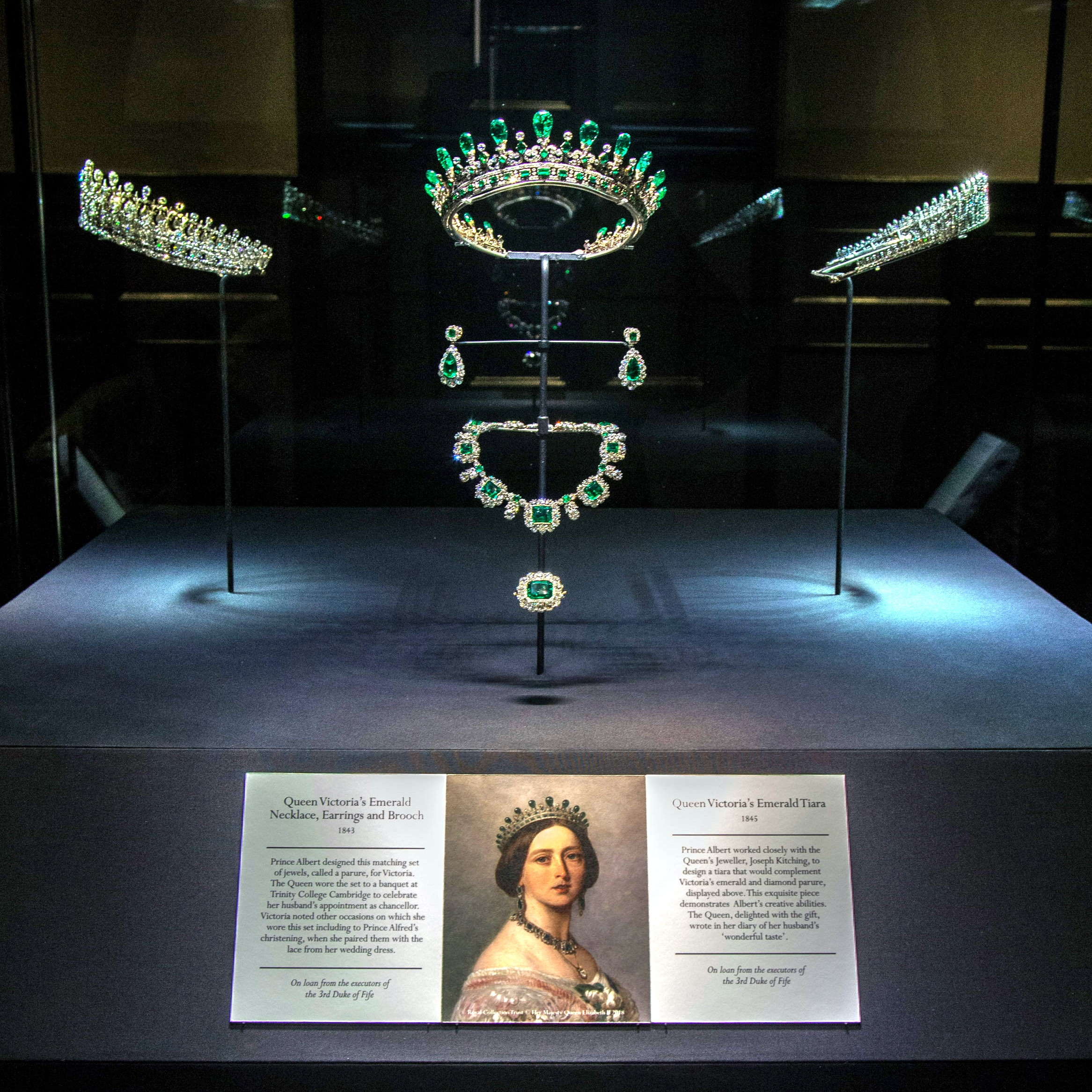 Kokoshnik tiara is seen in upper right corner of display