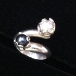 I designed the Vine Ring using a white and a black cultured pearl.