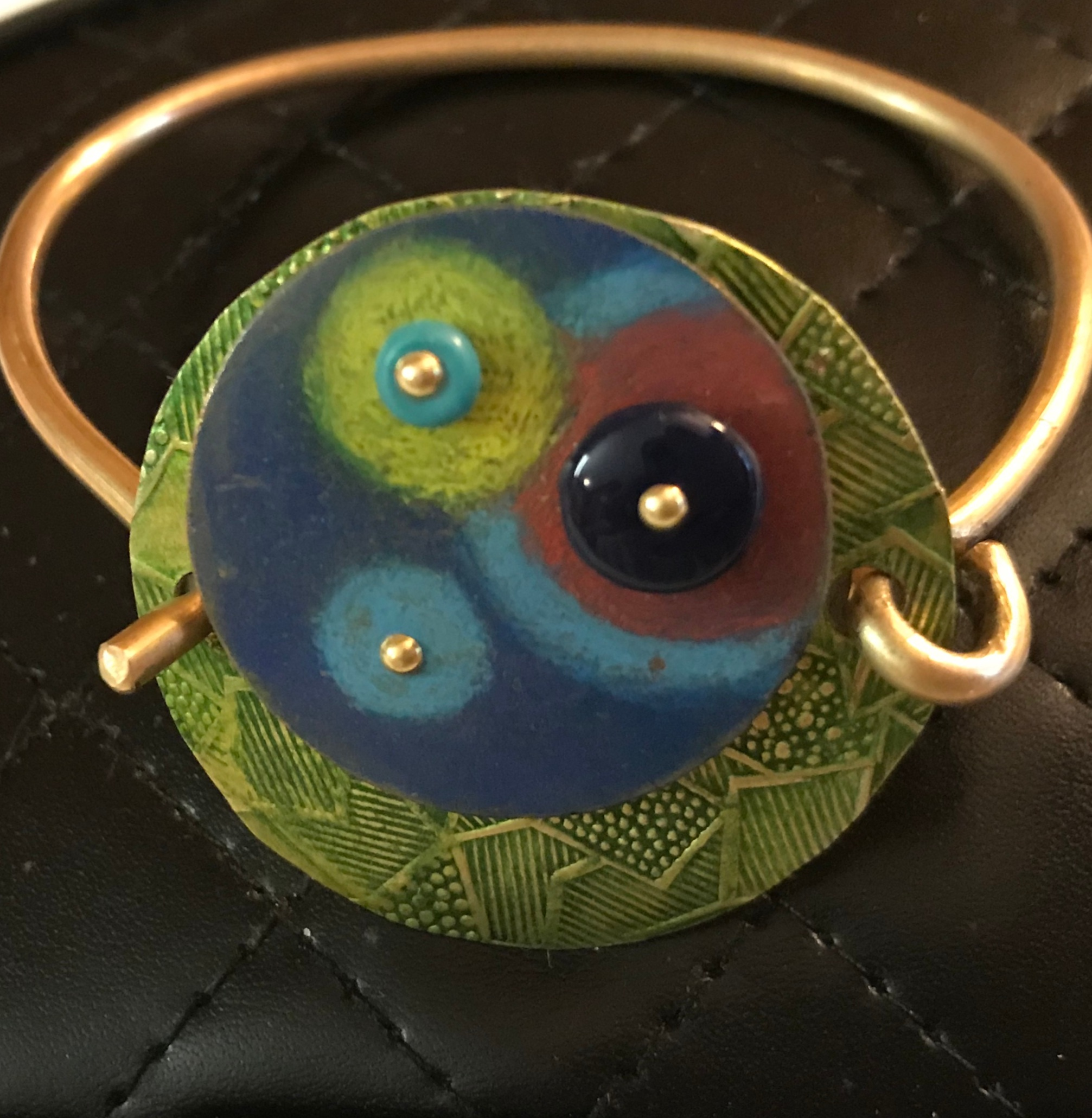 This colorful bracelet is Copper colored with Prismacolor pencils.