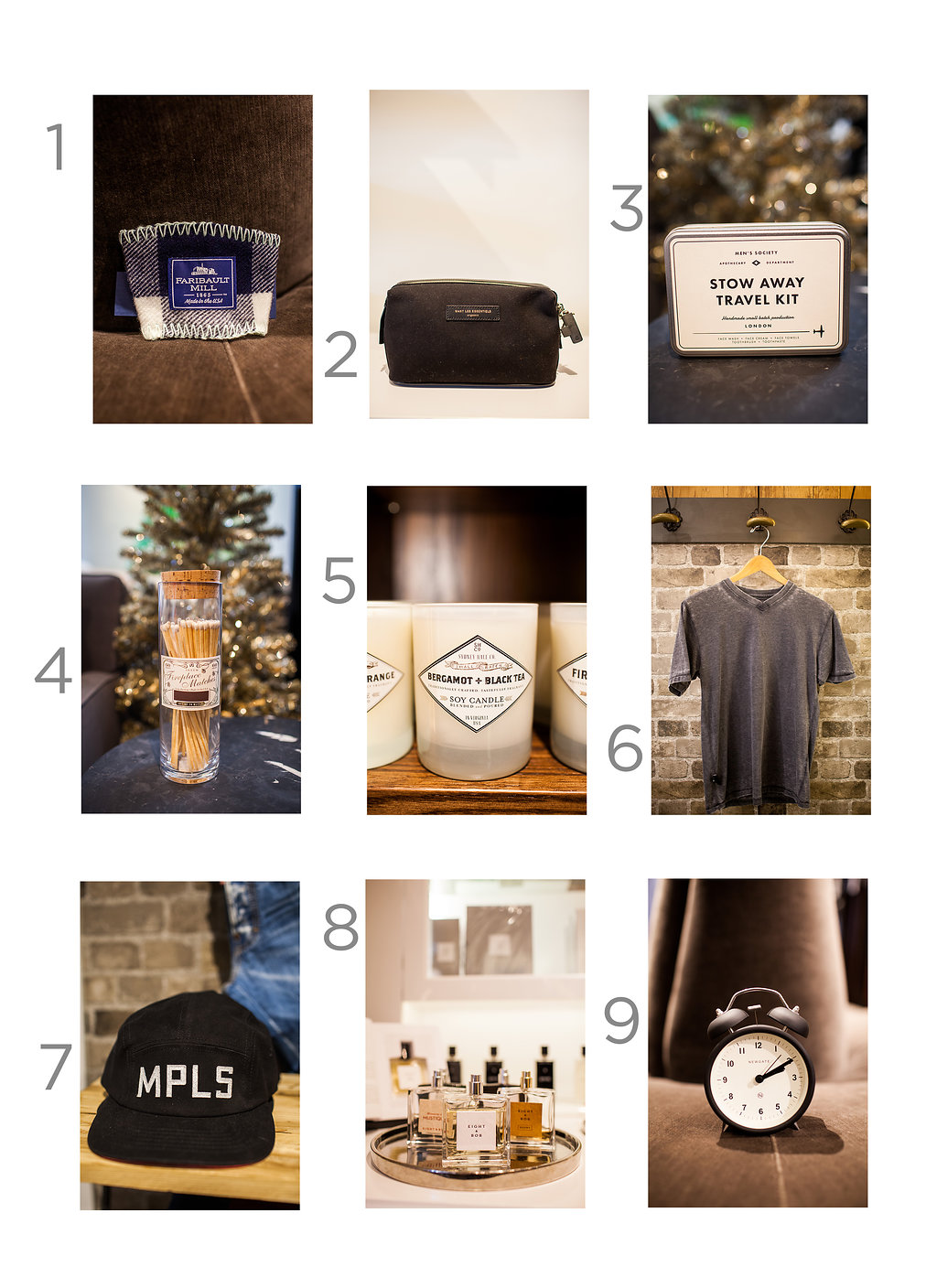 1. Faribault Coffee Cup Sleeve, $10  2. Want Les Essentiels Dopp Kit, $225  3. Men's Society Stow Away Travel Kit, $35  4. Skeem Design Fireplace Matches, $34  5. Sydney Hale Company Candle, $30  6. AMERN/RJB V-Neck in Charcoal, $42  7. Talisman & Co. Mpls Black Cap, $35  8. Eight & Bob Cologne, $185  9. Newgate Charlie Bell Alarm Clock, $30
