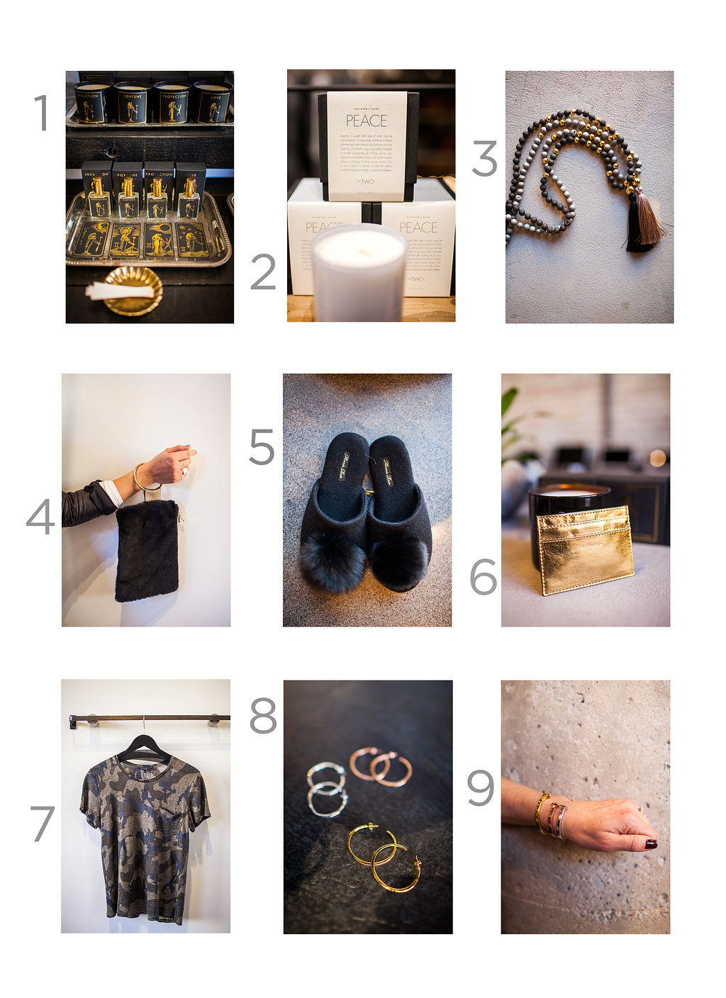 1. Seduction, Potion Collection Candle and Perfume, $45 and $55  2. Graham + Kane Peace Candle, $45  3. Gorjana Necklace, $95  4. Well Fair Bags Shearling Ring Clutch, $198  5. Minnie Rose Slippers, $165  6. Intropia Wallet, $35  7. Generation Love Boyfriend Tee, $98  8. Gorjana Arc Hoops, $60  9. Giles and Brother Railroad Spike Bracelet, $85