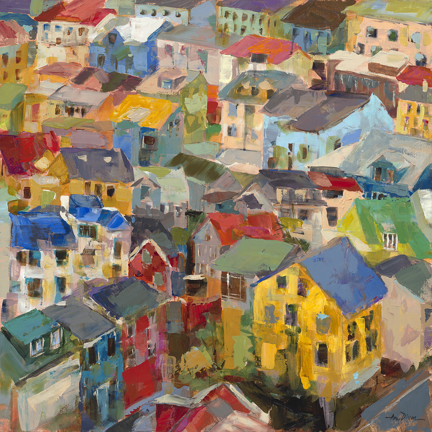 """Rooftops 30"""" X 30"""" SOLD"""