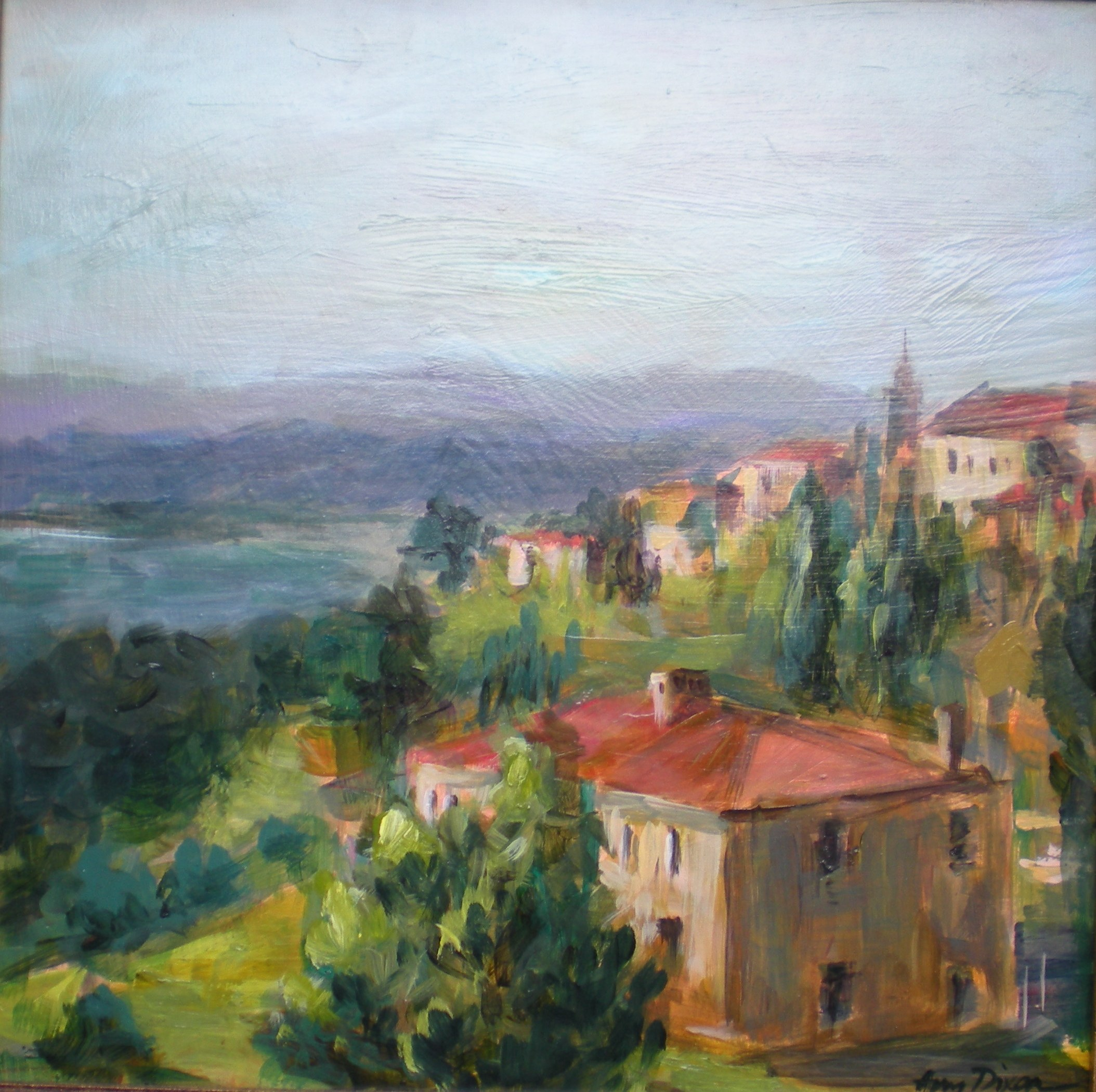 """View from Orvieto 12"""" x 12"""" SOLD"""