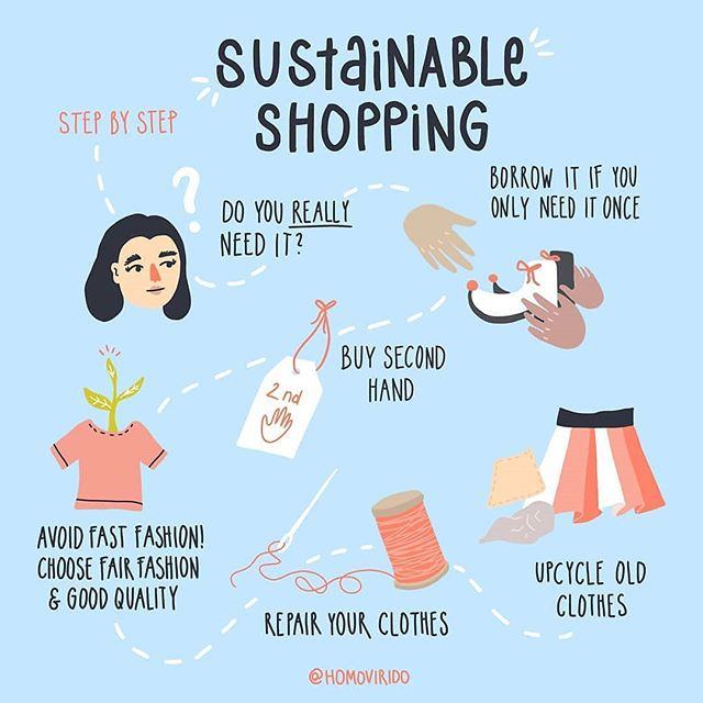 Love this graphic by @homovirido Shopping sustainably may be easier than you think. It's just about retraining the way you think. • • • • • A step by step guide how to do sustainable shopping 👕🌿 First, ask if you REALLY need this. Check if you can borrow it somewhere. The next option is buying second hand clothes, like at Rethreads or other #secondhandcville shops. 😊 If something is worn out: repair it. The last option is to upcycle it, for example you can sew new things from the clothing or use them for cleaning 🍃  Reposted from @wastefreeplanet