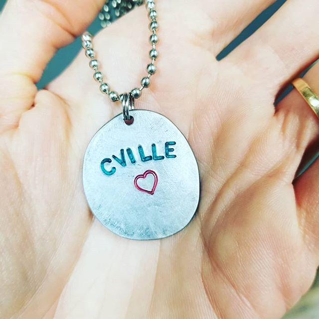 We 💜 Cville. These eco- friendly repurposed electrical punch outs turned into dog tag necklaces were made by an awesome local crafter. Swipe to see more word necklaces we currently have available.  #love #lovecville #a12 #heart #loveva #dogtagnecklace #ecofriendly #cville #repurposed #upcycled #necklace #jewelry #recycledjewelry #upcycledjewelry