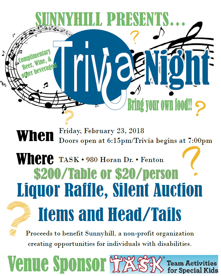 Click the flyer above to register for Sunnyhill's Trivia Night!