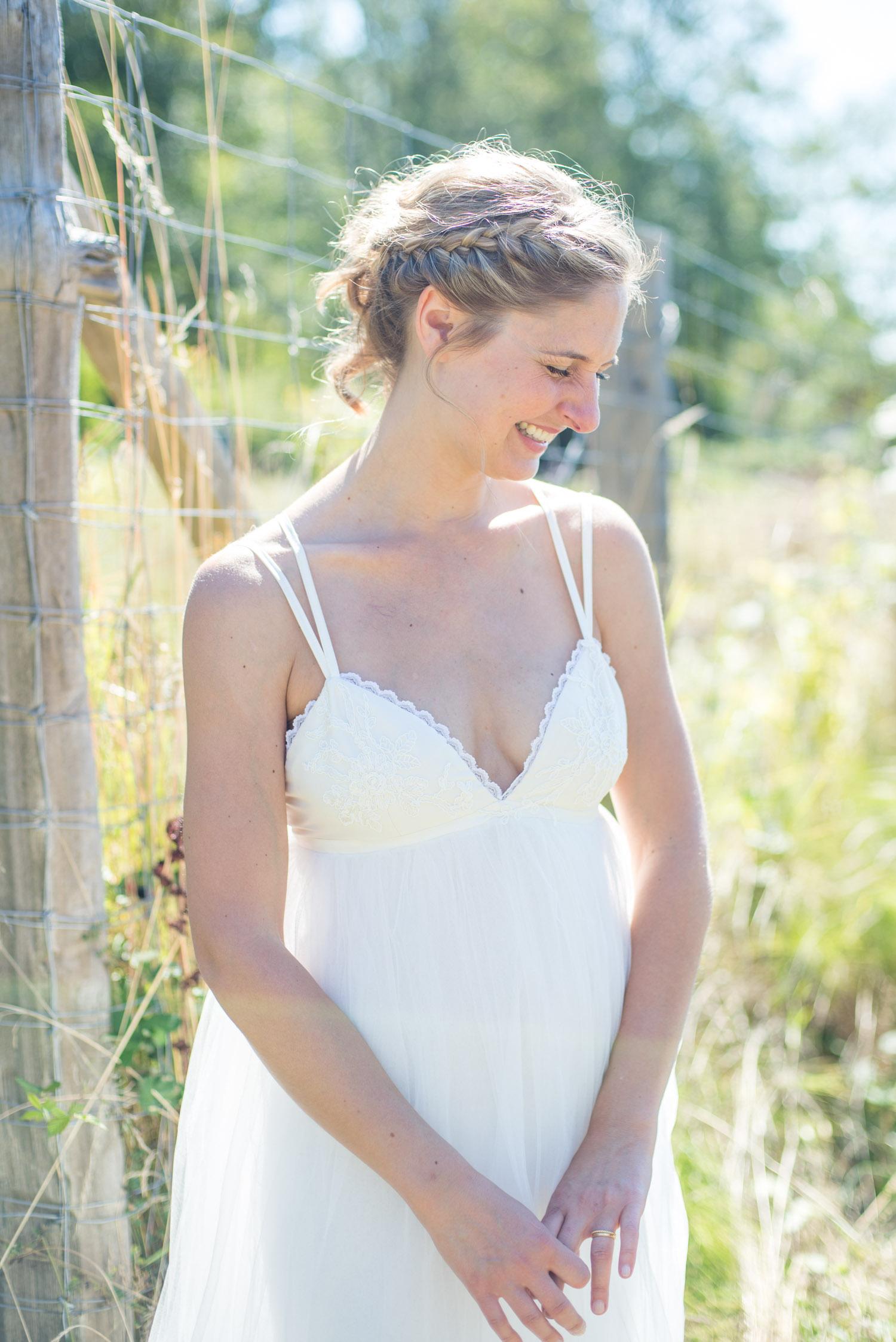 Boho bride in the wildflower fields