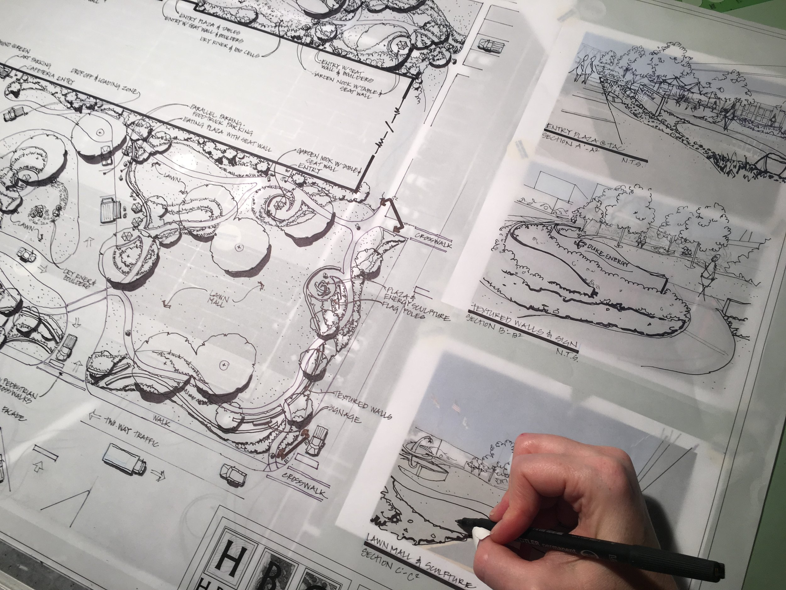 Drawing by hand stimulates the imagination and allows us to speculate about ideas, a good sign that we're truly alive ~ Micheal Graves   At HBC we still produce hand drawn conceptual designs and renderings for our clients to use for marketing, presentations, framing, and meetings.