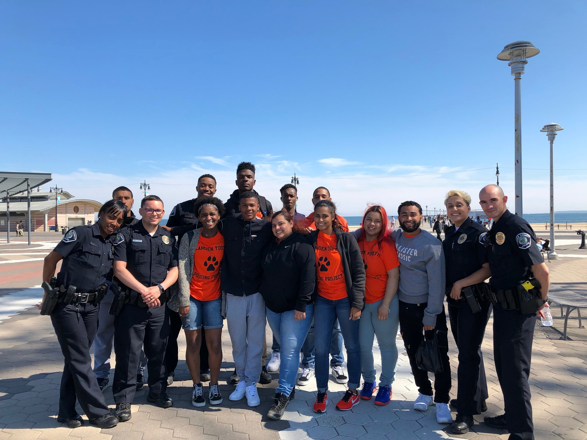 Students and officers enjoying the Coney Island Boardwalk.