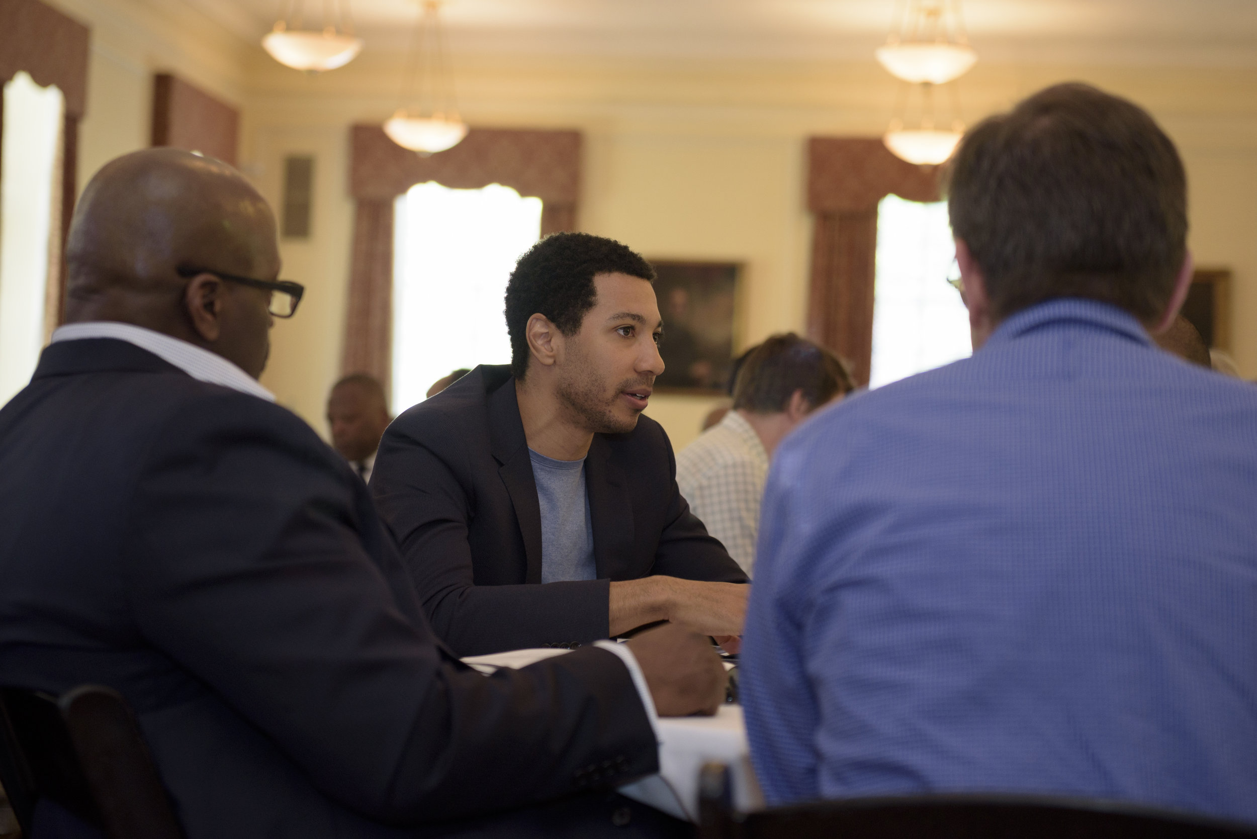 Mustafa Abdul-Hamid, co-founder and vice president of My90, in small group workshop.