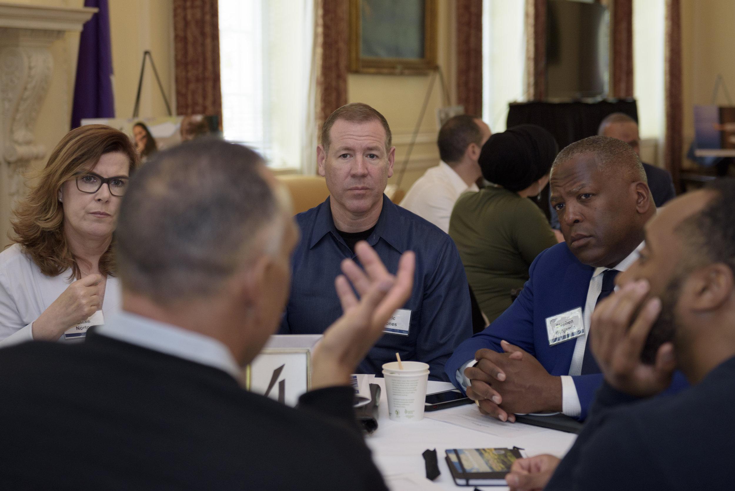(From left) Blake Norton, senior vice president of the National Police Foundation; Stockton Chief of Police Eric Jones; and Mayor Stephen Benjamin of Columbia, South Carolina.