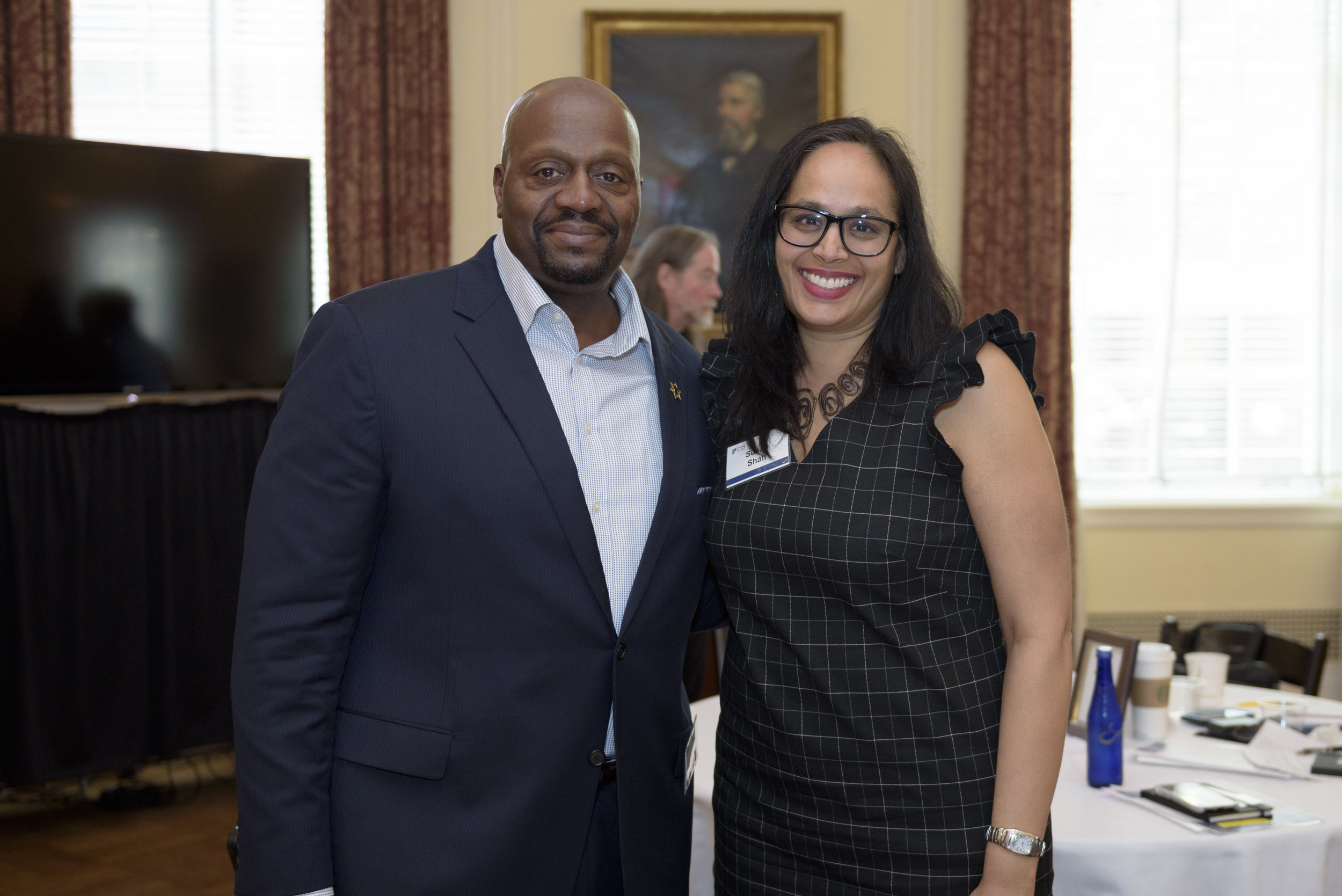 Sheriff Jerry Clayton of Washtenaw County, Michigan, and Susan Shah, managing director of racial justice at Trinity Church Wall Street.