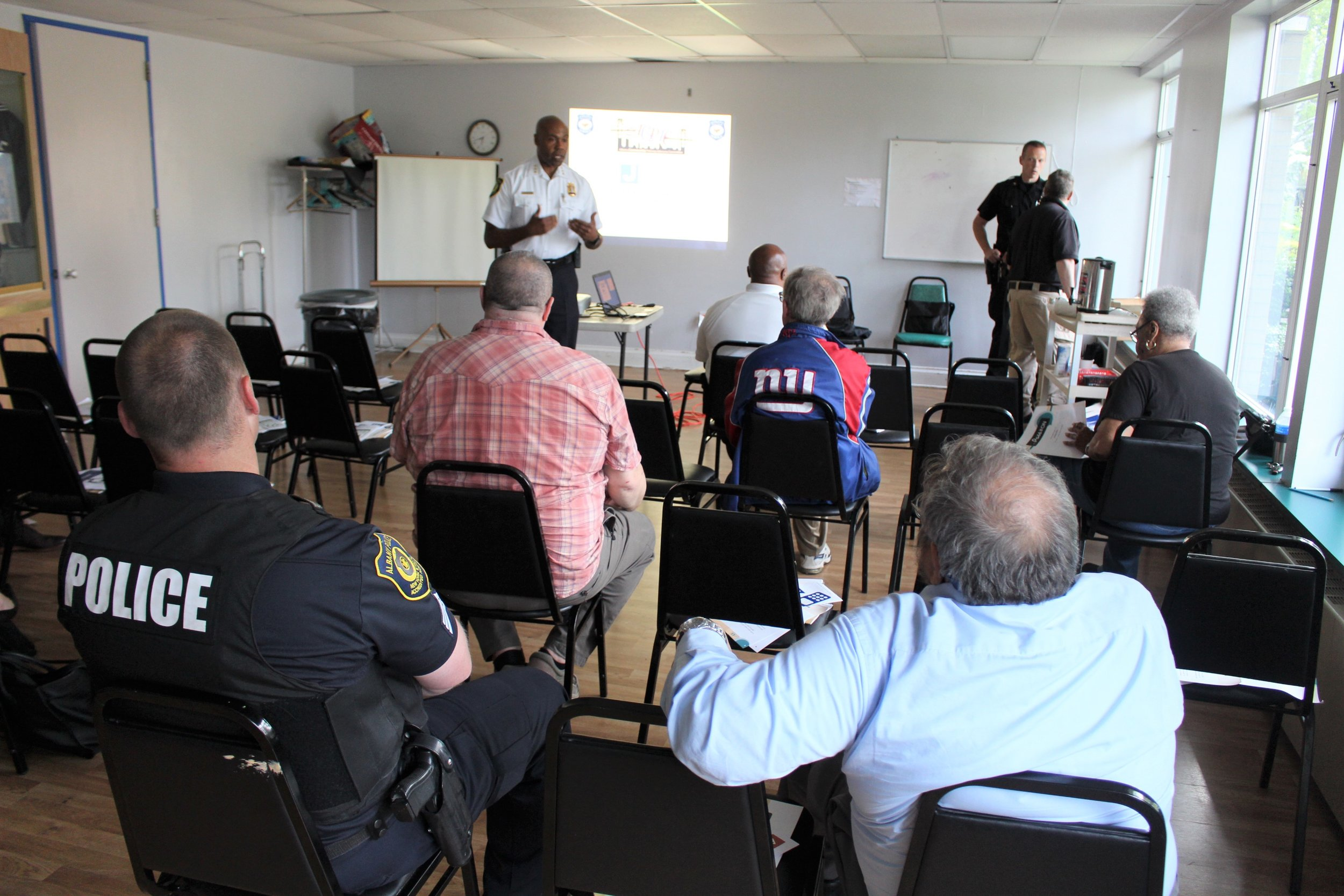 A meeting of the ACPAC with Chief Hawkins and police staff.