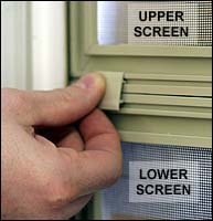 Some windows with two half-screens have screen clips which must be removed before either screen can be removed. Replace these clips after replacing screens.