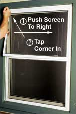 With one hand, push screen to right (compressing spring clips into right track) while tapping top left corner of screen into top track with other fist.