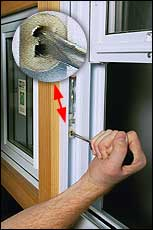 Use screwdriver to pull shoes down, turning C-shaped openings to vertical, facing you.