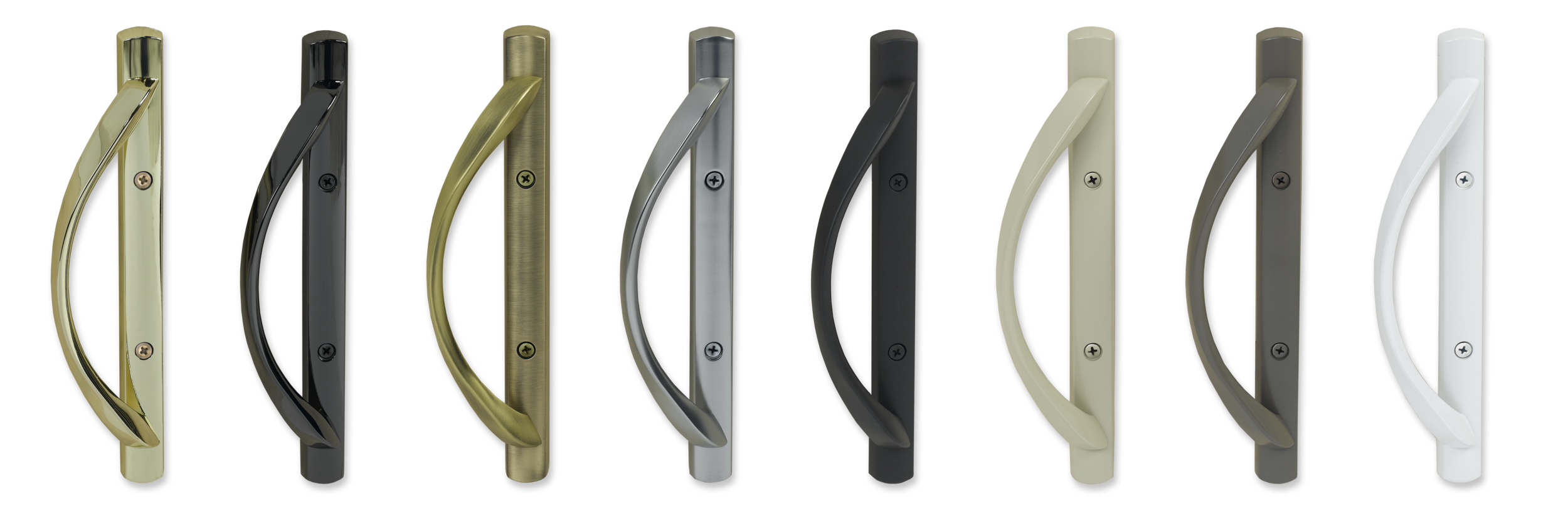 Doorwall handle options:  (L to R) Brass, Black Nickel, Antique Brass, Brushed Chrome, Faux Oil Rubbed Bronze, Almond, Terratone, White